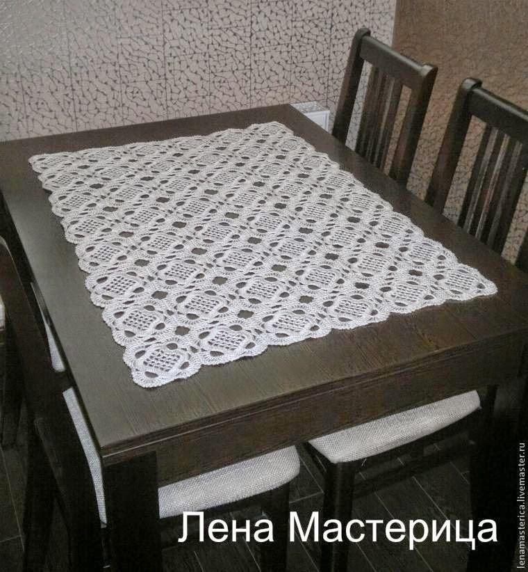 Squares para apliques al crochet con patrón - mantel