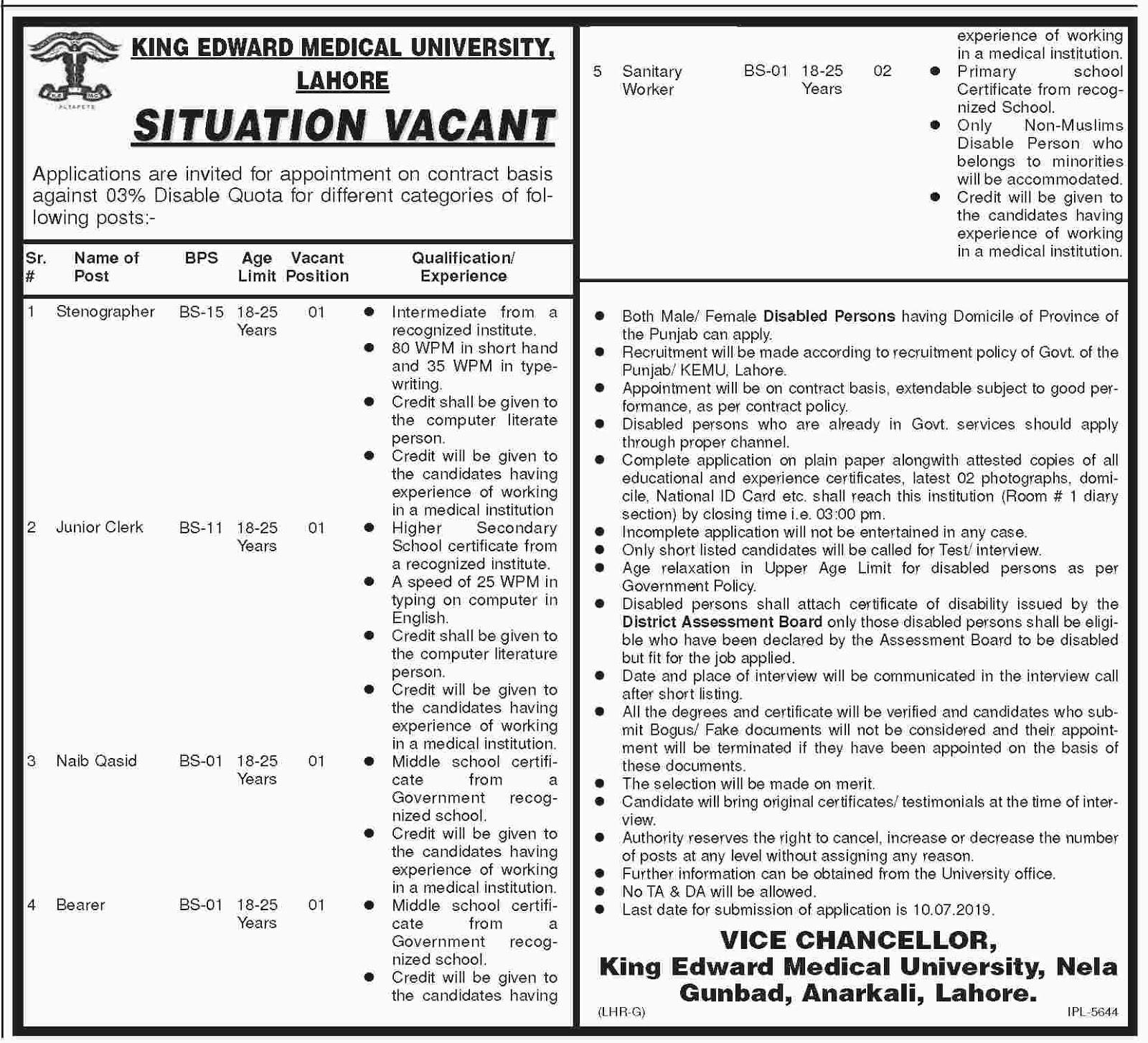 Advertisement for King Edward Medical University Lahore Jobs