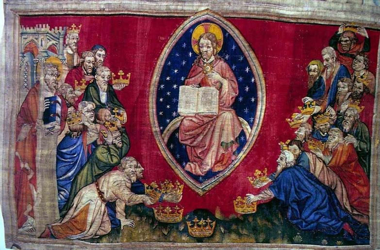 Os reis depositam suas coroas aos pés de Cristo, Tapeçaria do Apocalipse. Angers