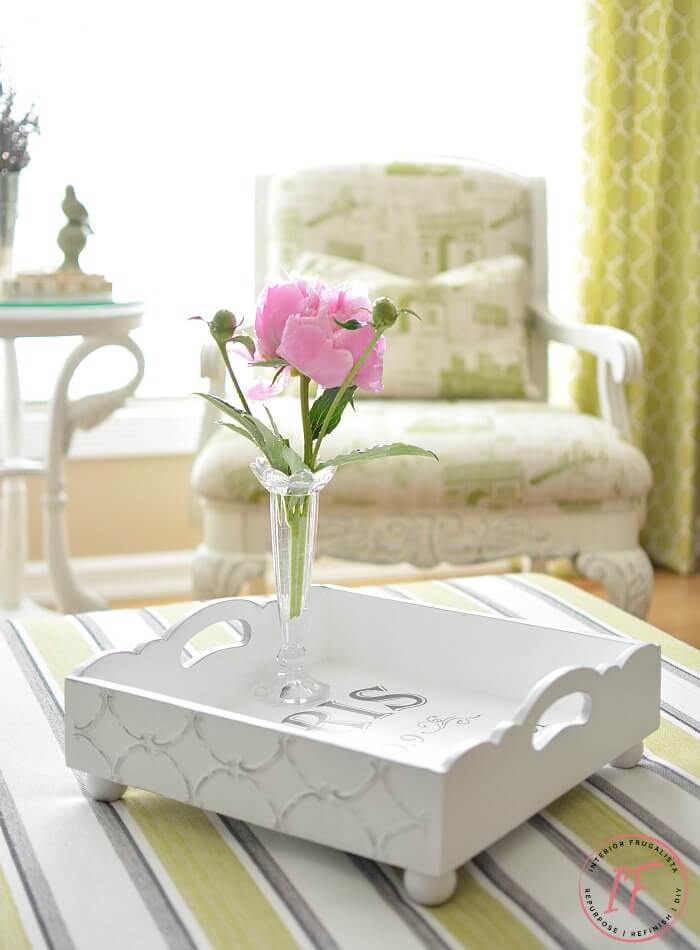Square Painted Ottoman Tray Makeover