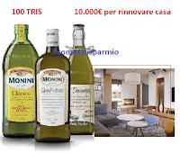 Logo Concorso '' 100 anni con Monini'' : vinci 100 tris di bottiglie e 10.000 euro per rinnovare casa