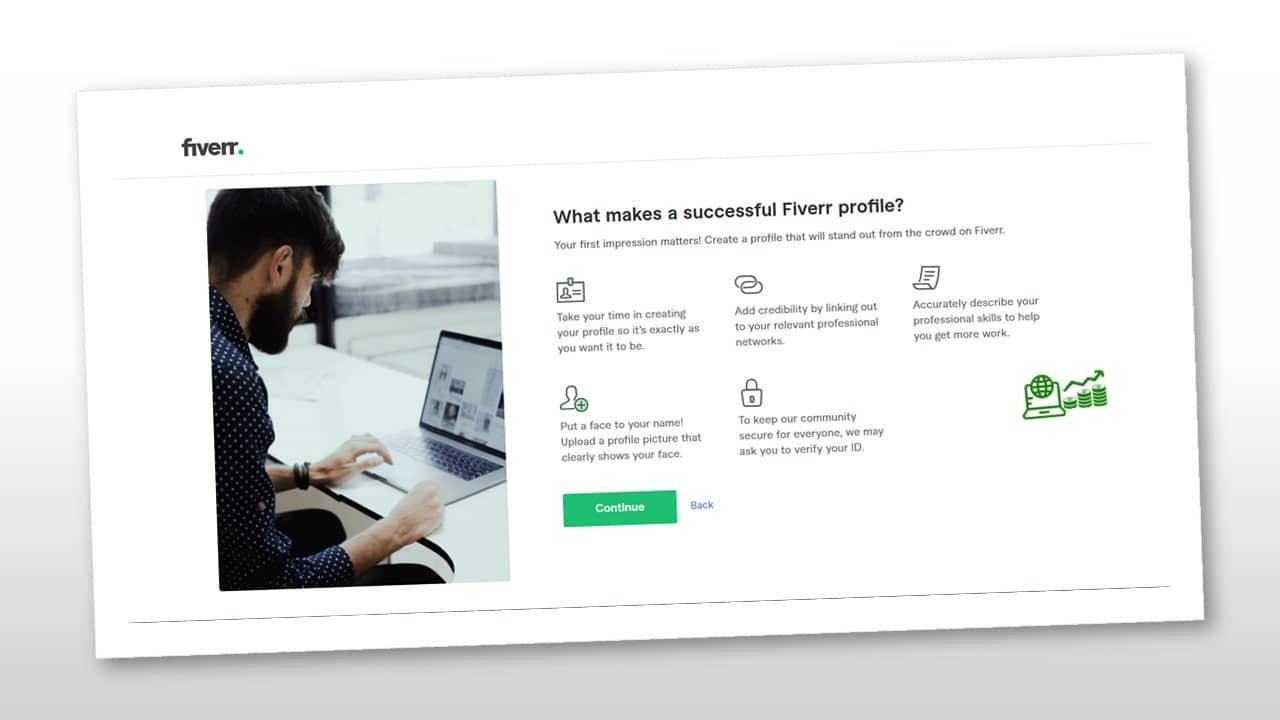 perfil de Fiverr exitosos