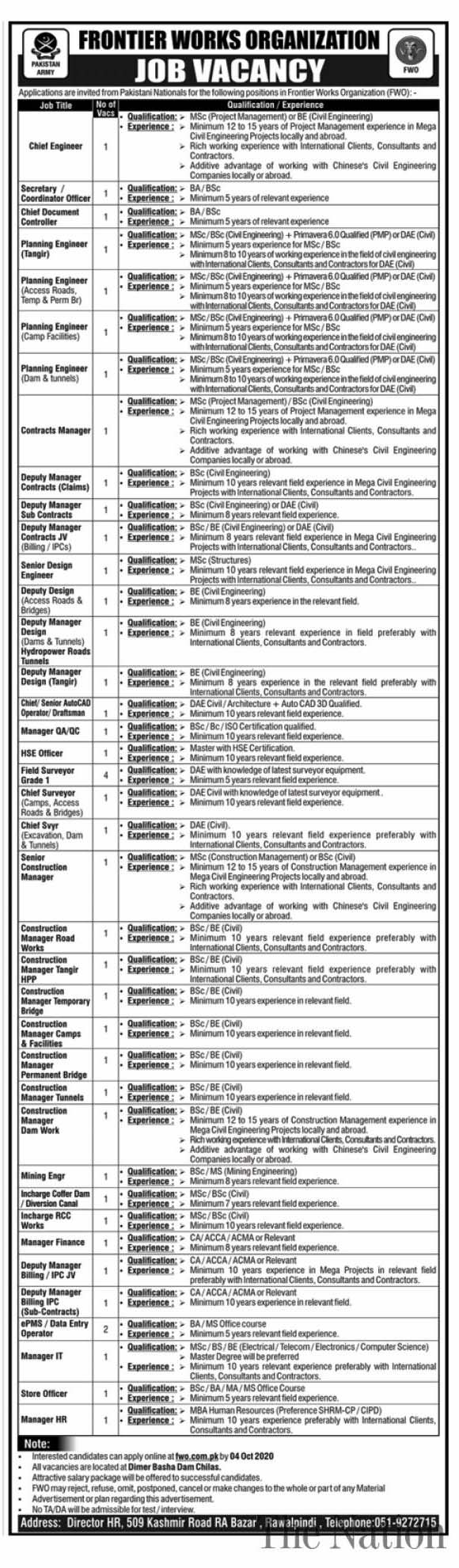 Frontier Works Organization (FWO) Jobs 2020 For Planning Engineers And Other Posts