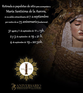 Horario e Itinerario de la salida extraordinaría que llevará a la Virgen de la Aurora de Granada