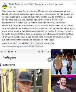 Cantor Gustavo Lima compartilha vídeo de um rapaz cantando em Cananeia