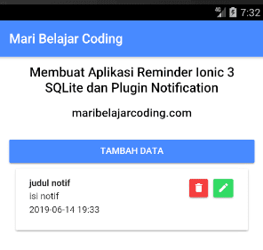 Membuat Aplikasi Reminder Ionic 3 SQLite dan Local Notifications