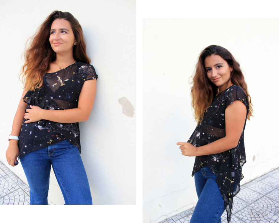 patsilvarte casual look with galaxy Dresslily shirt