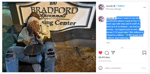 Davido Visits Apartment He Lived In 12 Years Ago With Bred 'When They Had No Money'