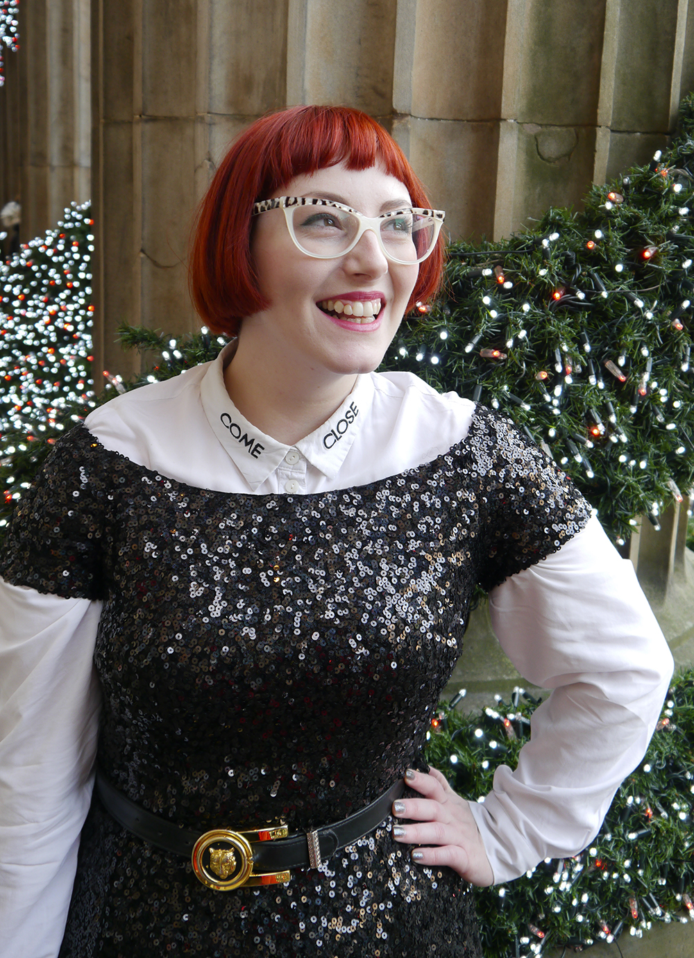 styled by, styled by helen, Christmas party outfit, party outfit, sequined outfit, sequined jumpsuit, glitter clutch bag, party clutch bag, SoS15, gin bag, gin clutch bag, festive party outfit inspiration, black sequined jumpsuit, catsuit, faux tuxedo style, scottish blogger, fashion blogger style, Edinburgh blogger, red head, Spex Pistol glasses, statement glasess, shop small, London designer, UK designer, independent designer UK, statement bag