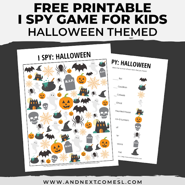Free I spy game printable for kids: Halloween themed