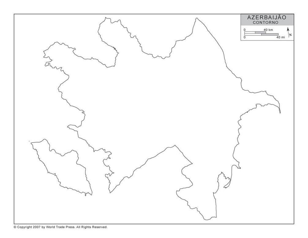 Mapa do Azerbaijão com Contorno
