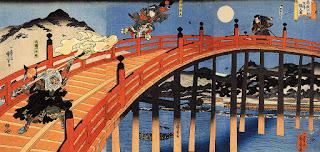 The moonlight fight between Yoshitsune and Benkei. Gojo Bridge, Kyoto