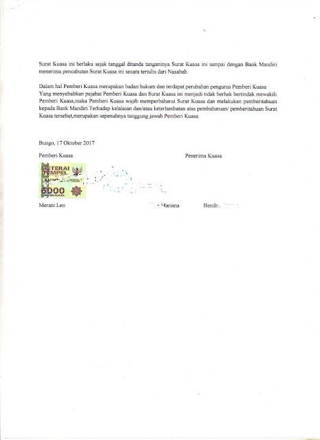 Surat kuasa penyetoran Warkat/Giro/cek/slip