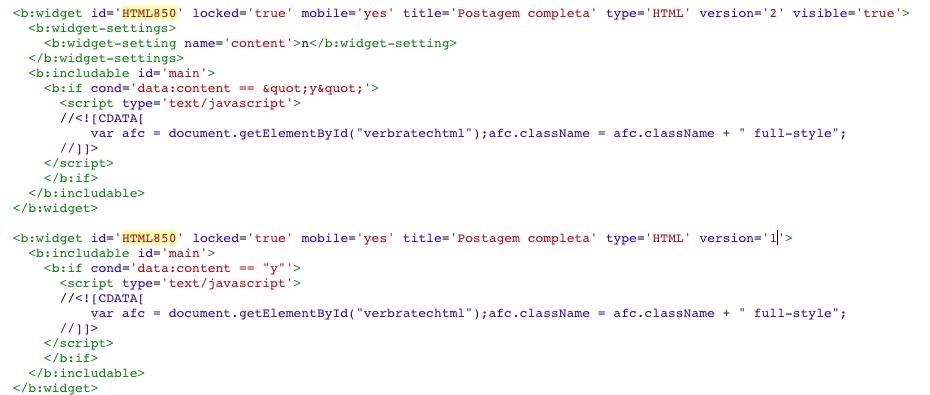 Códigos nas versões um e dois para um mesmo widget Blogger.
