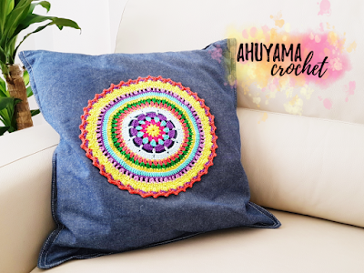imagen cojín mandala ahuyama crochet