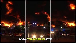 ( بالفيديو )حريق اخر الان بفرنسا في واحد من اكبر  المصانع للمواد الكيماوية....