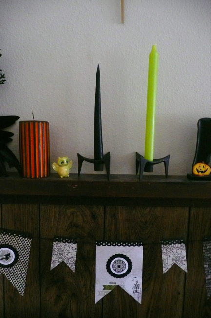 style, design, surface, styled surface, mantle, Halloween, danish candleholders, vintage, vintage owls, Hong Kong owls, My Mind's Eye paper banner