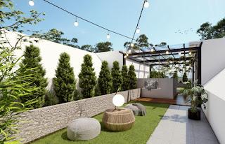 Roof Top Siang Hari Rumah Cantik Mewah Murah Konsep Dua Wajah di Kawasan Segitiga Emas Setiabudi Ringroad Medan - Twin Luxury