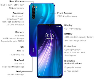 Redmi Note 8 Smartphone Specification and Price in India