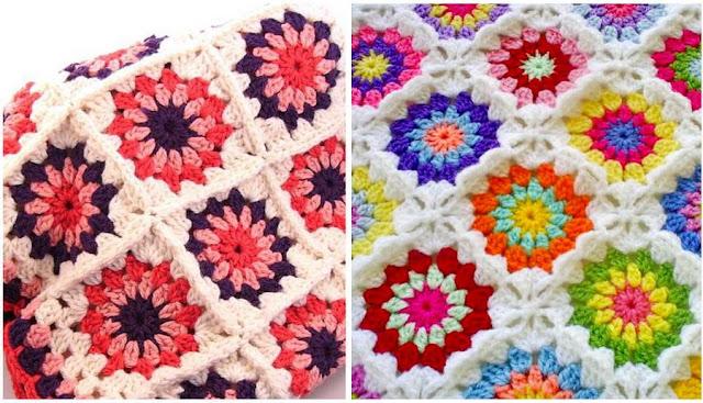 colorful crochet blanket, crochet granny flower square motif