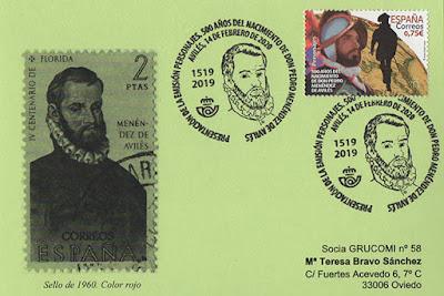 tarjeta, presentación, matasellos, sello, Pedro Menéndez, Avilés