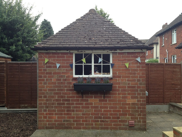 after: garden shed bunting