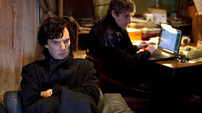 Benedict Cumberbatch and Martin Freeman as Sherlock Holmes and John Watson in 221 B Baker Street in The Great Game