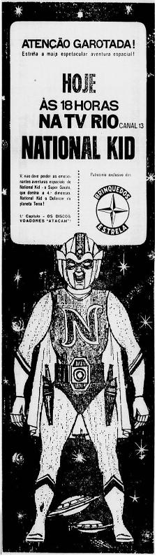 Propaganda antiga da série japonesa National Kid para a TV Rio em 1964
