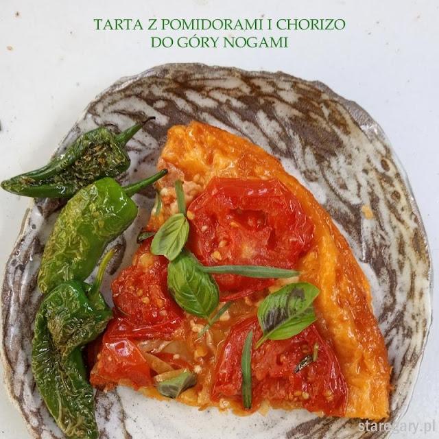 tarta z pomidorami, chorizo i serem - do góry nogami