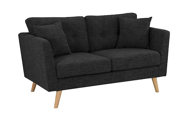 black fabric mid century modern love seat