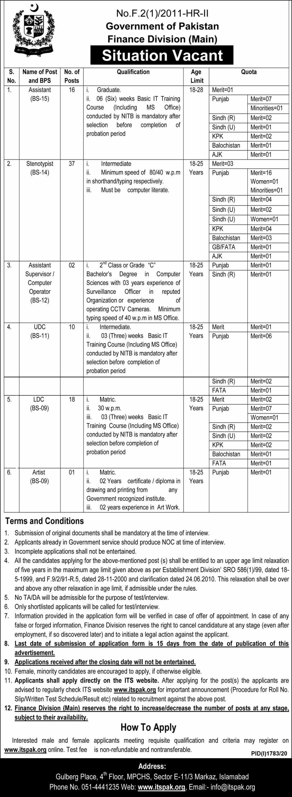 84 vacant Posts in Finance Division, Government of Pakistan Jobs 2020 | itspak