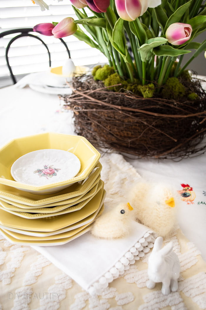tulips, vintage dishes and handmade chicks