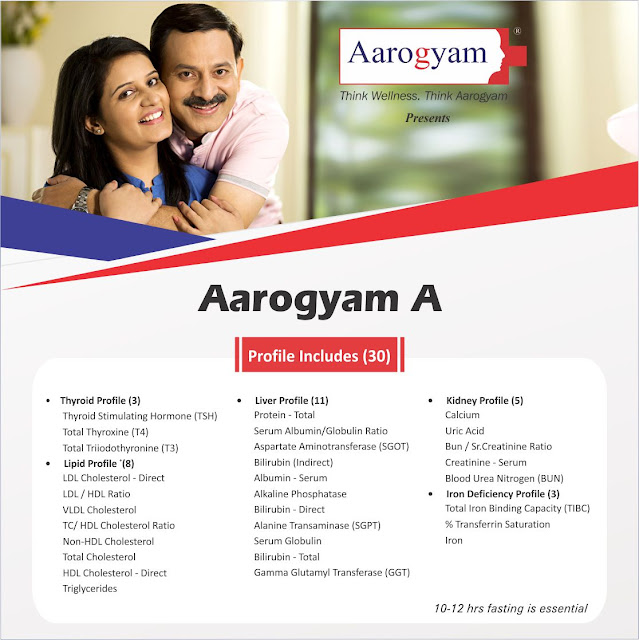 Aarogyam A Profile with Thyroid + Liver + Lipid + Renal + Iron deficiency @ Rs 500 / 30 Tests