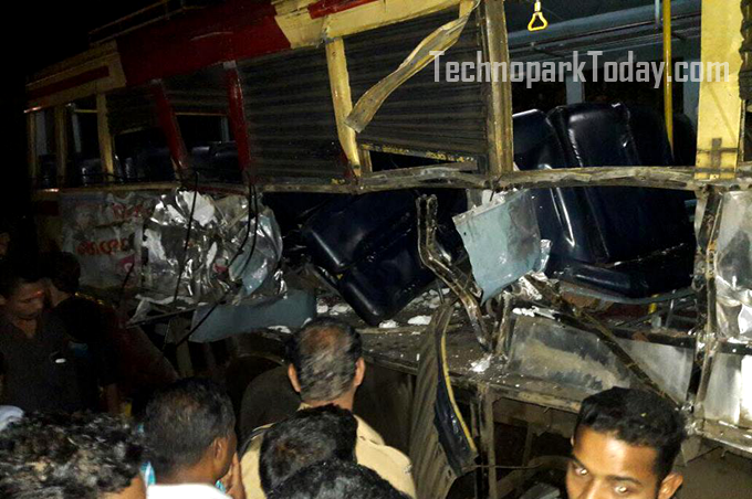 Technopark Angamaly Bus accident ayoor
