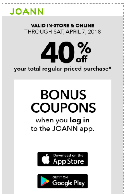 JoAnn Fabrics: High-Value 40% off TOTAL Purchase Coupon (Mobile App ...