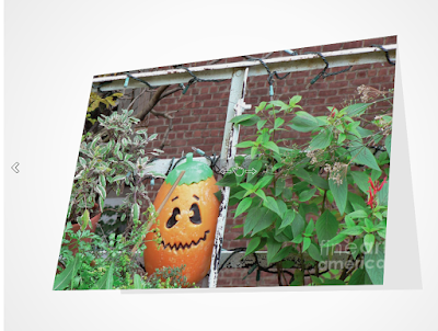"This screen-shot features a Halloween card that has an image which was taken in my garden when it was decorated for Halloween. It is a picture of a Jack-O-Lantern ""standing"" beside red flowers. It is available for purchasing via Fine Art America @ https://fineartamerica.com/featured/all-hallows-eve-patricia-youngquist.html?product=greeting-card"