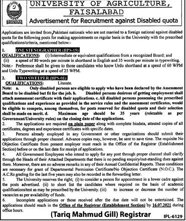 University of Agriculture Faisalabad UAF Latest Jobs in Pakistan 2021- www.uaf.edu.pk