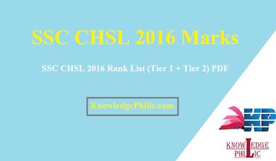 SSC CHSL 2016 Rank List (Tier 1 + Tier 2) PDF Download