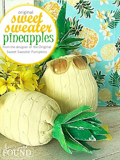 Sweet Sweater Originals, Sweet Sweater Pineapples,sweaters,thrifted,summer,re-purposing,up-cycling,crafting,tropical style,colorful home,coastal style,beach style,summer home decor,coastal home decor,beach home decor,tiki culture,tiki style home decor,tropical home decor,sweater crafts, sweater pumpkin tutorial,tutorial