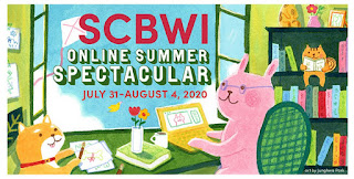 Banner image for the SCBWI Online Summer Spectacular: illustration of a cat and rabbit sitting at a desk, writing books