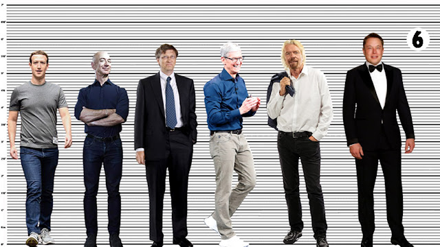 """Elon Musk with Mark Zuckerberg (5'7.5"""" or a solid 5'7""""), Jeff Bezos (5'8""""), Bill Gates (almost 5'10""""), Tim Cook (5'11""""), and Richard Branson (5'11"""")"""