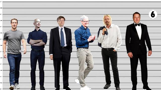 "Mark Zuckerberg with Jeff Bezos (almost 5'8""), Bill Gates (almost 5'10""), Tim Cook (5'1""), Sir Richard Branson (5'11"") and Elon Musk (6'1.5"")"