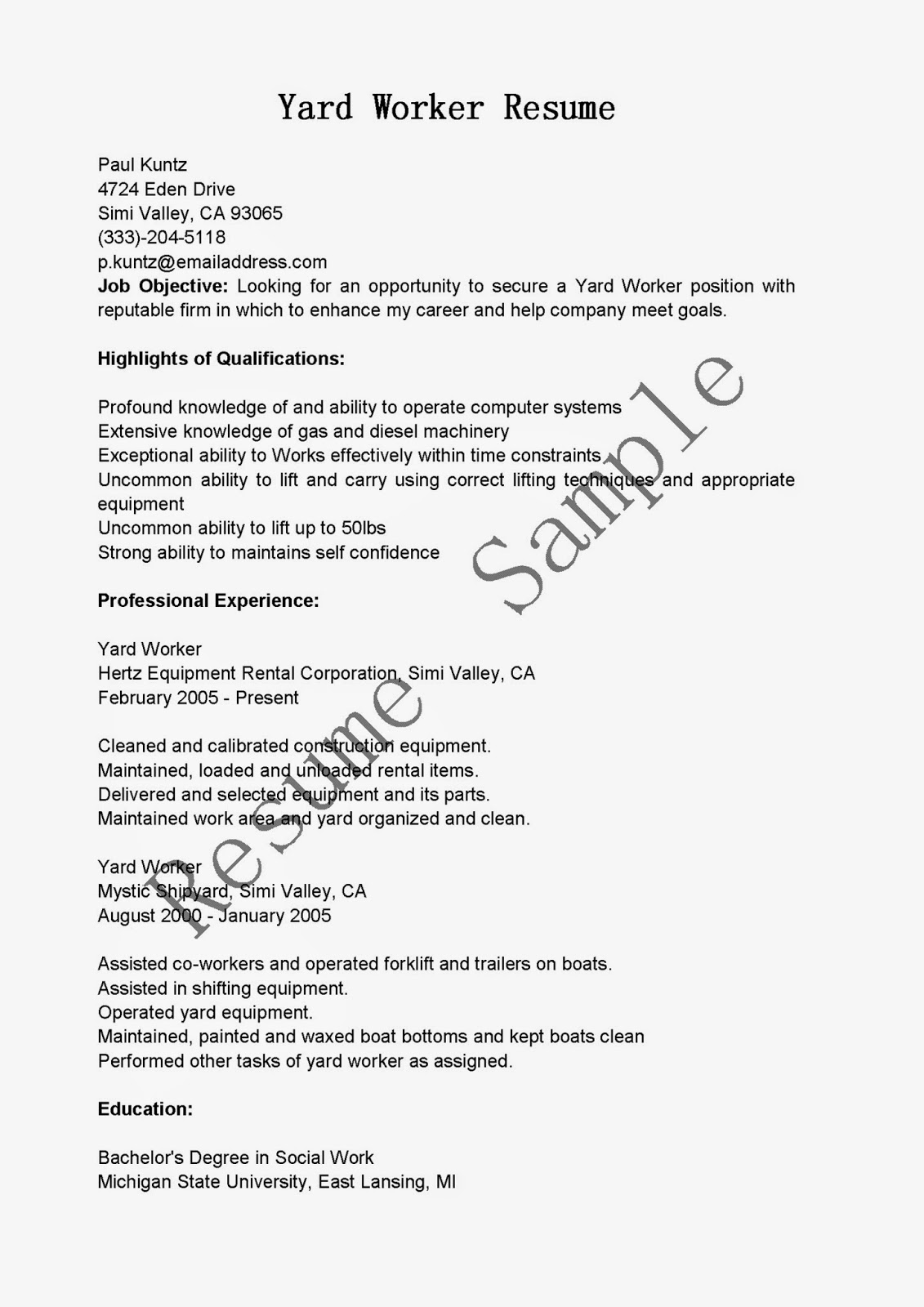 resume samples  yard worker resume sample