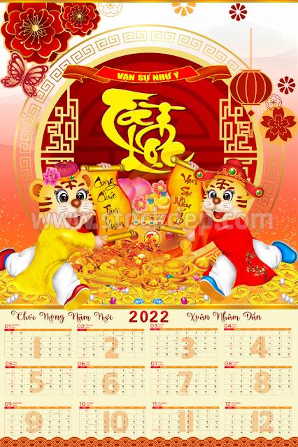 Lịch Tờ 12 Tháng âm lịch 2022 Mừng Xuân Năm Dần