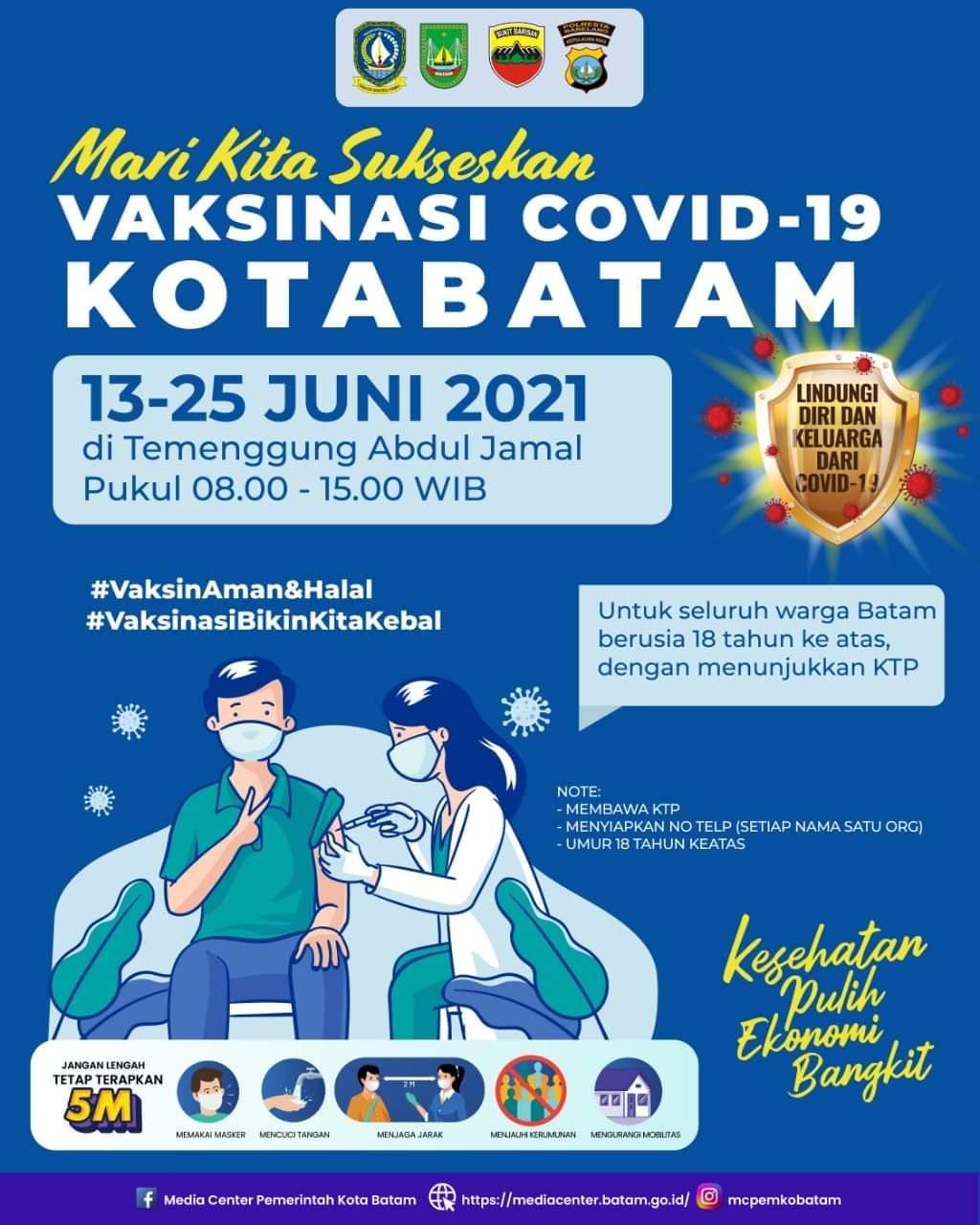 Sukseskan Vaksinasi, Pemerintah Pusatkan  Vaksinasi Covid-19 di Stadion Temenggung Abdul Jamal
