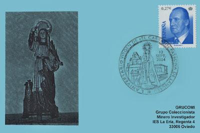 filatelia, tarjeta, matasellos, Virgen del Carbayo, Langreo