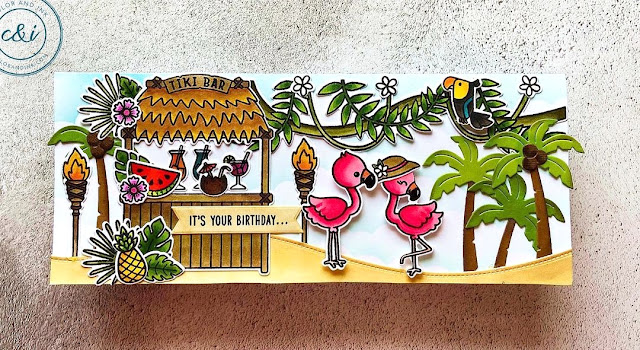 Sunny Studio Stamps: Tiki Time Fabulous Flamingos Tropical Scenes Customer Card by Anika