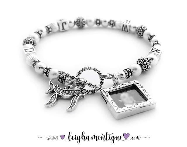 WWJD Bracelet with a Picture Frame Charm & a Chai Charm