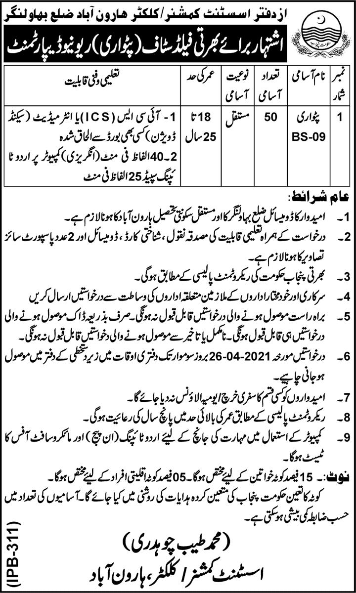 Revenue Department Punjab Haroonabad Jobs 2021 Application Form - Revenue Department Haroonabad Jobs 2021 - Revenue Department Punjab Jobs 2021