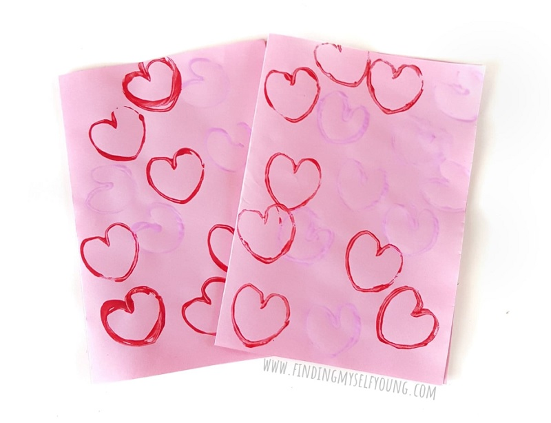valentines day heart stamp paintings